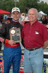 Chris Garehart receiving Trophy from Jeff Manning